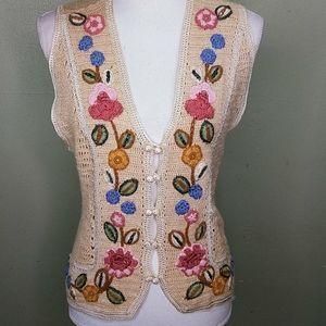 Vintage Knit Sweater Vest With Crochet Appliques M